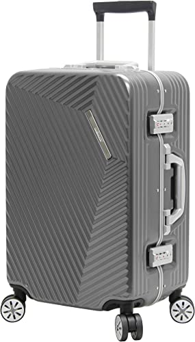 Andiamo Elegante Suitcase with Built-in TSA Lock – Zipperless 20 Inch Hardside Carry On Bag- Lightweight ABS PC Luggage With 8-Rolling Spinner Wheels Black Pearl