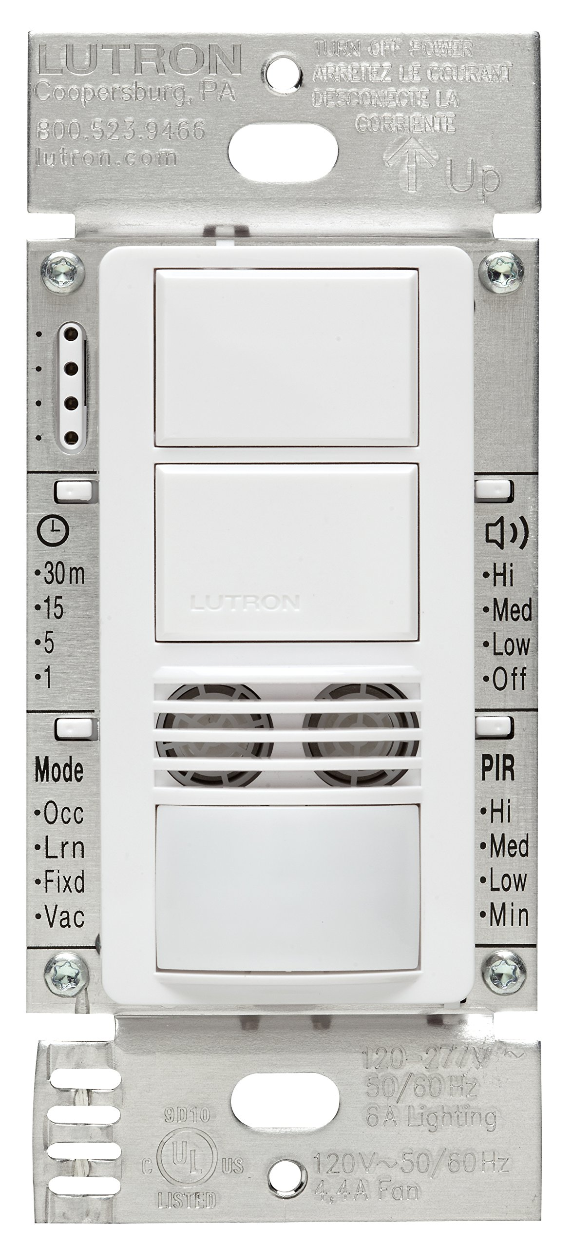 Lutron MS-A202-WH Maestro Dual Tech Dual Circuit Occupancy Sensor Switch, no neutral required, 6 Amp Single-Pole, White