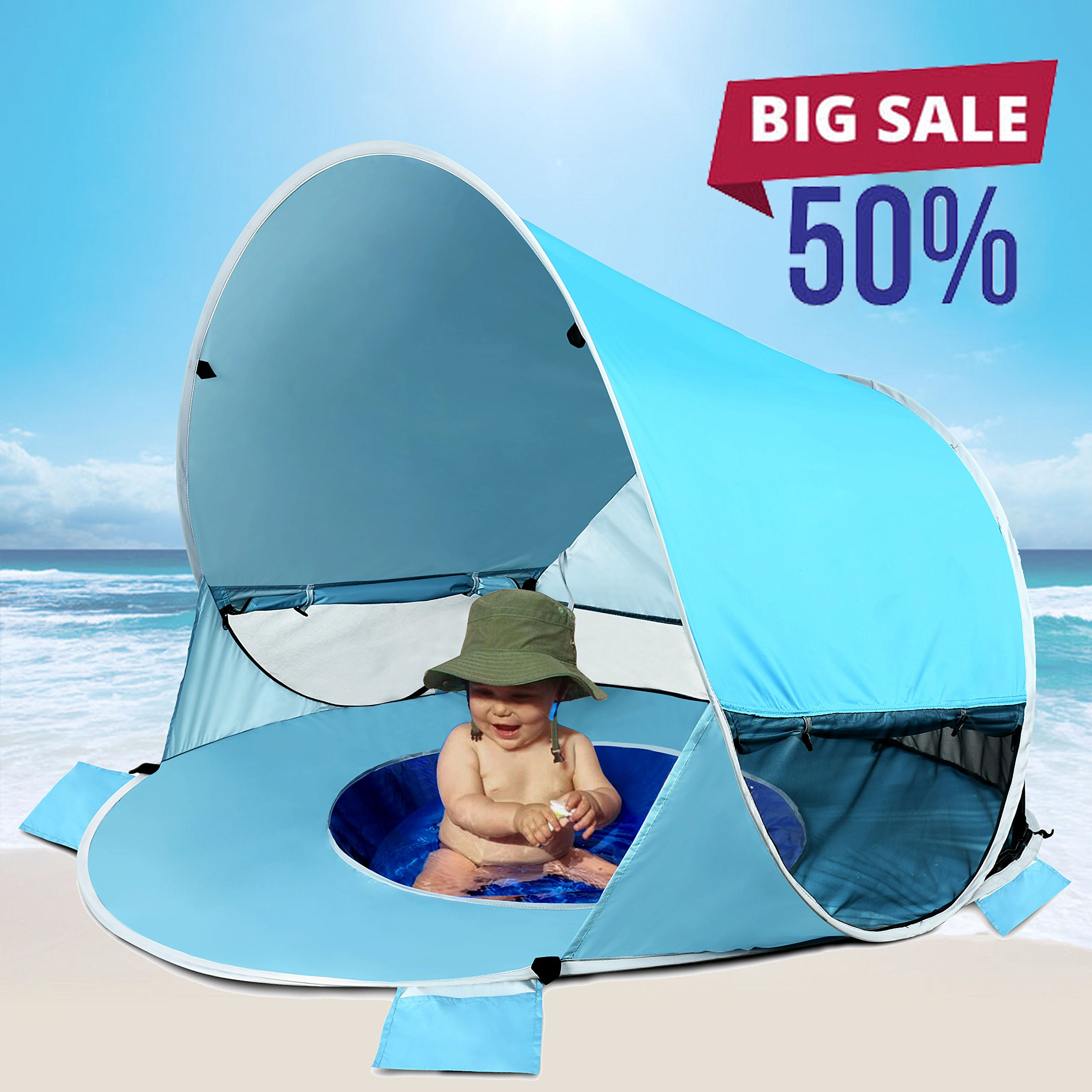 [2018 UPGRADED]Baby Beach Tent-Pop Up Beach Tent With Pool Shade Cabana Portable UV Sun Shelter