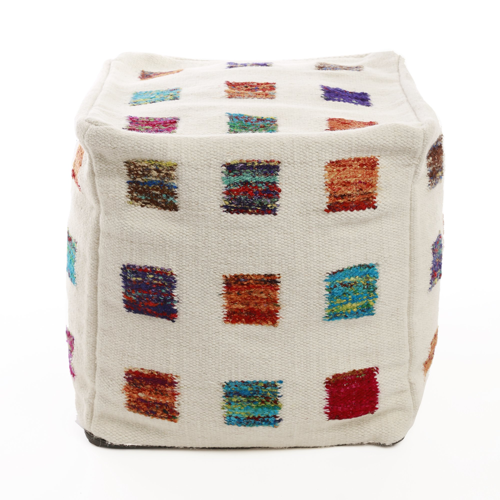 Best Home Fashion Multicolor Square Wool Pouf 18