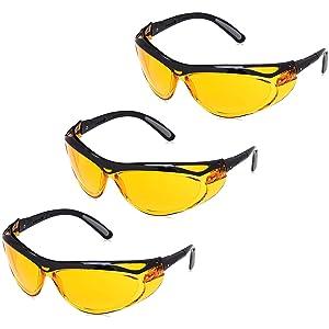 AmazonBasics Blue Light Blocking Safety Glasses Eye Protection, Anti-Fog, Orange Lens, 3-Count
