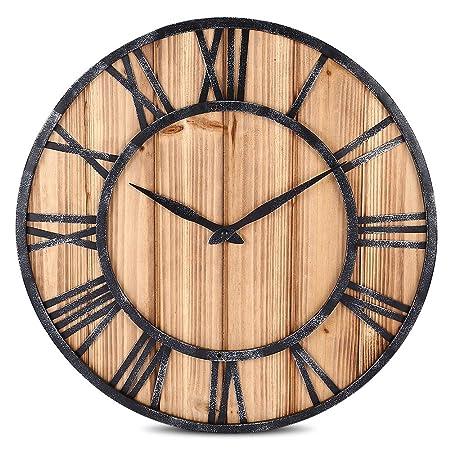 Robolife Decorative Silent Round Wooden Wall Clock Roman Numeral Retro Home Decor Wood