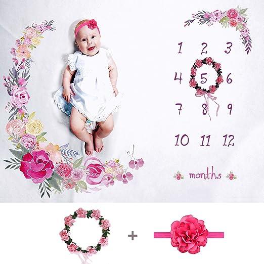 Amazon Com Tiny Smiles Baby Monthly Milestone Blanket Girl Large 60 X40 Bonus Floral Wreath Headband Soft Photography Background Newborn Girls Or Boys Photo Prop Best Months Watch