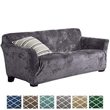 Form Fit, Slip Resistant, Stylish Furniture Shield/Protector Featuring Velvet Plush Fabric Magnolia Collection Strapless Slipcover (Sofa, Grey)