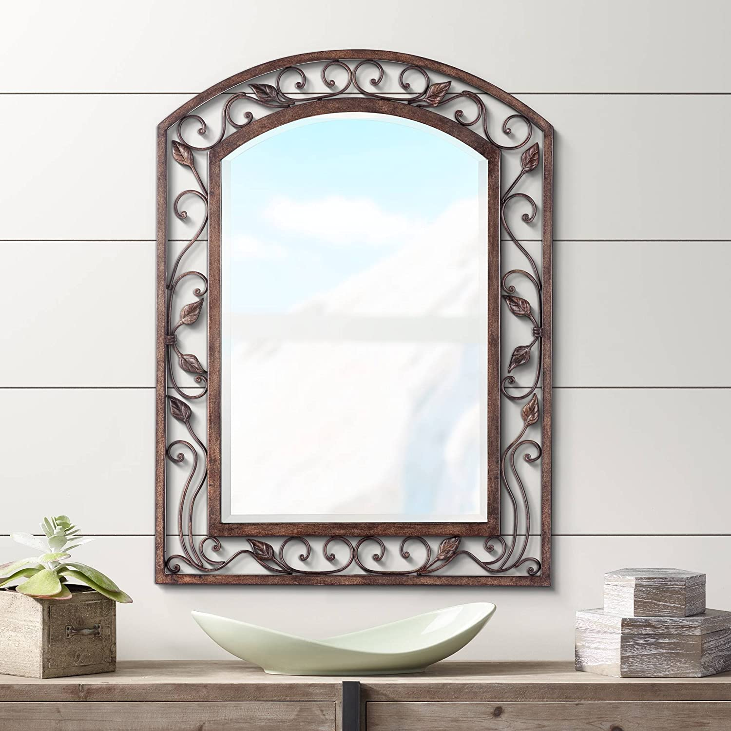 "Franklin Iron Works Eden Park Bronze 25"" x 34"" Arch Top Wall Mirror"