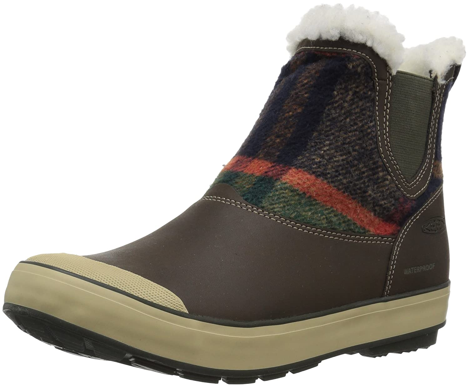 KEEN Women's Elsa Chelsea Waterproof Boot B01N76CKG4 7 B(M) US|Coffee Bean Wool