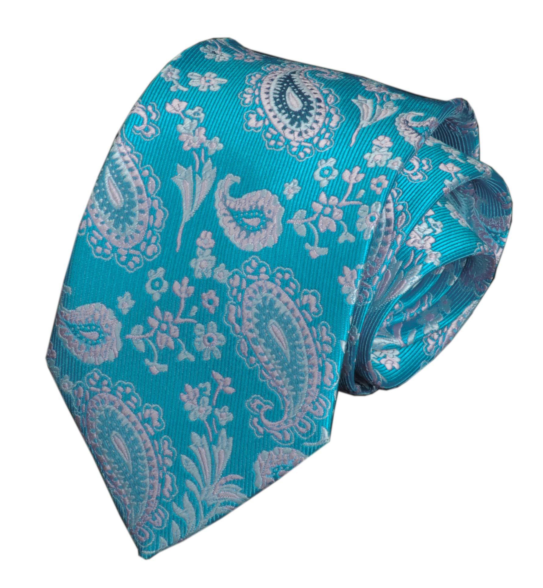 Men Slim Summer Tie Flowers Slik Cyan Blue Party Wedding Polyester Noble Necktie
