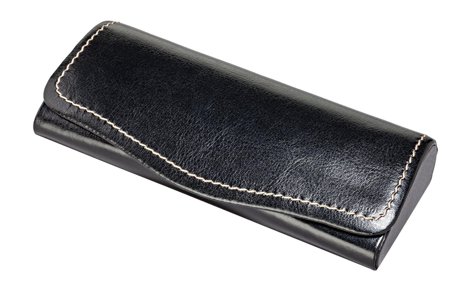 Glasses Case For Men & Women, Hard Eyeglass Case W/Magnetic Closure In Faux Leather, Black