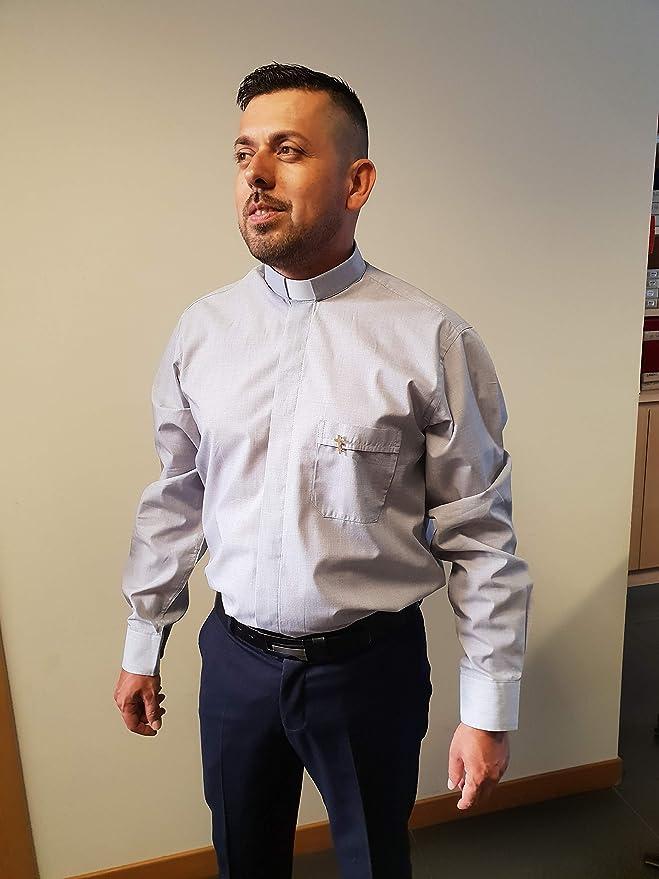 ANCORA INDUMENTA Camisa Sacerdote Clergyman - Manga Larga 100% Algodon: Amazon.es: Ropa y accesorios