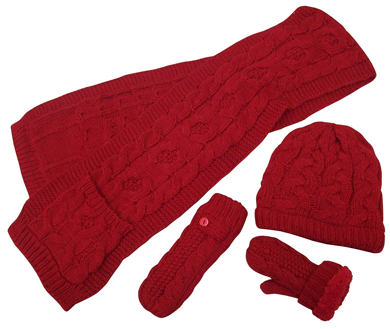 N'Ice Caps Girls Warm Sherpa Lined Cable Knit 3PC Accessory Set 2125