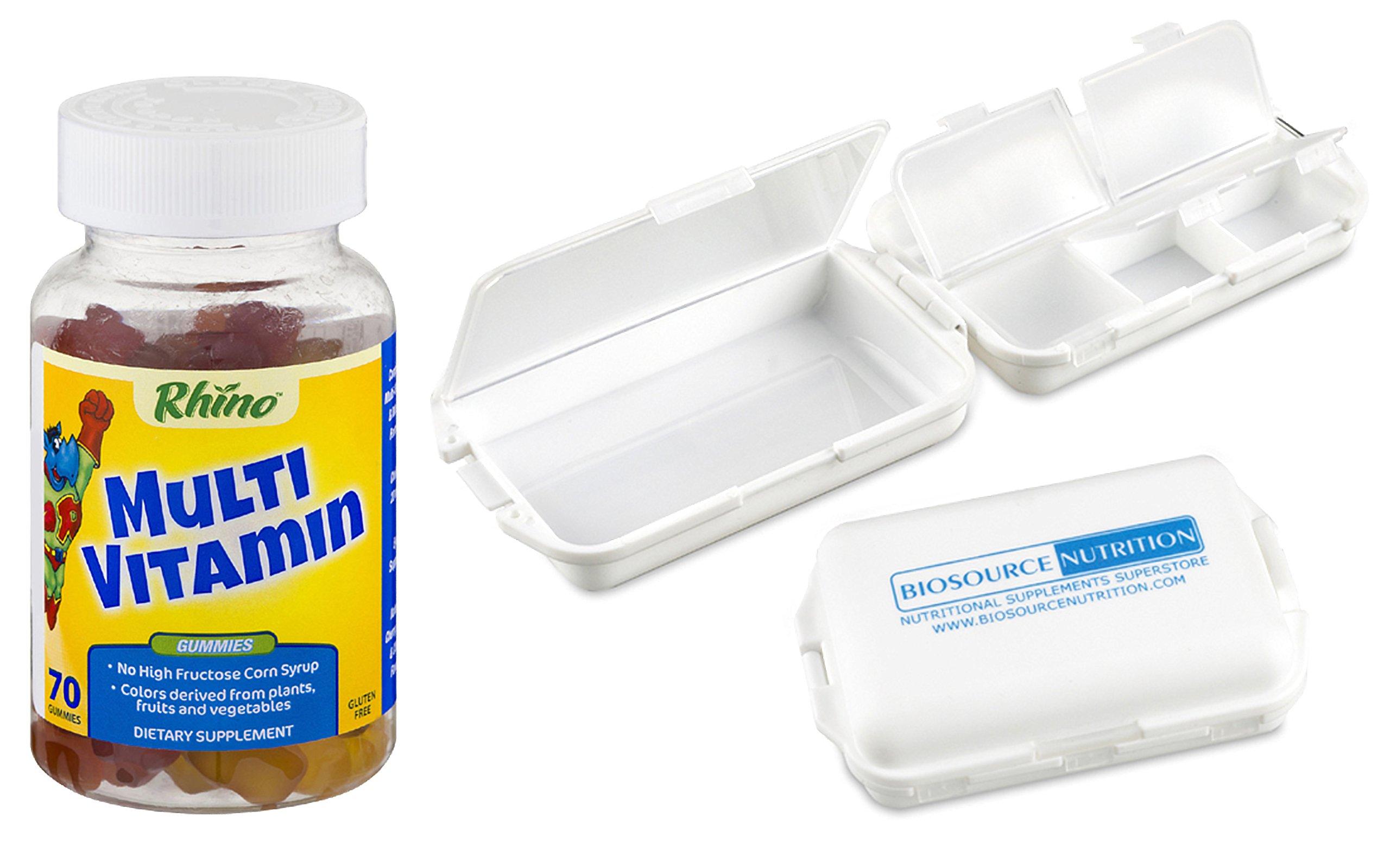 Rhino Multivitamin 70 Gummy Bears in Bundle with Biosource Nutrition Pocket Pill Box