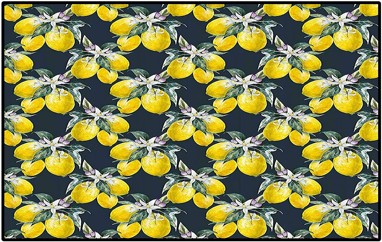 Floral Children Boys Girls Bedroom Rugs Lemon Tree with Flowering Plant Blooms Botany Eco Evergreen Leaves Artwork Desk Chair mat for Carpet Olive Green Yellow