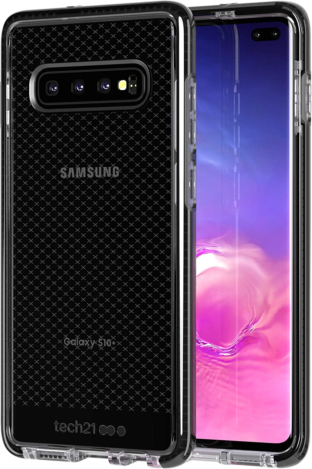 tech21 - Evo Check - for Samsung Galaxy S10+ - Mobile Phone Case with a Unique Check Pattern - Thin and Light Cellphone Case - Phone Casing for Drop Protection of 12FT or 3.6M (Smokey/Black)