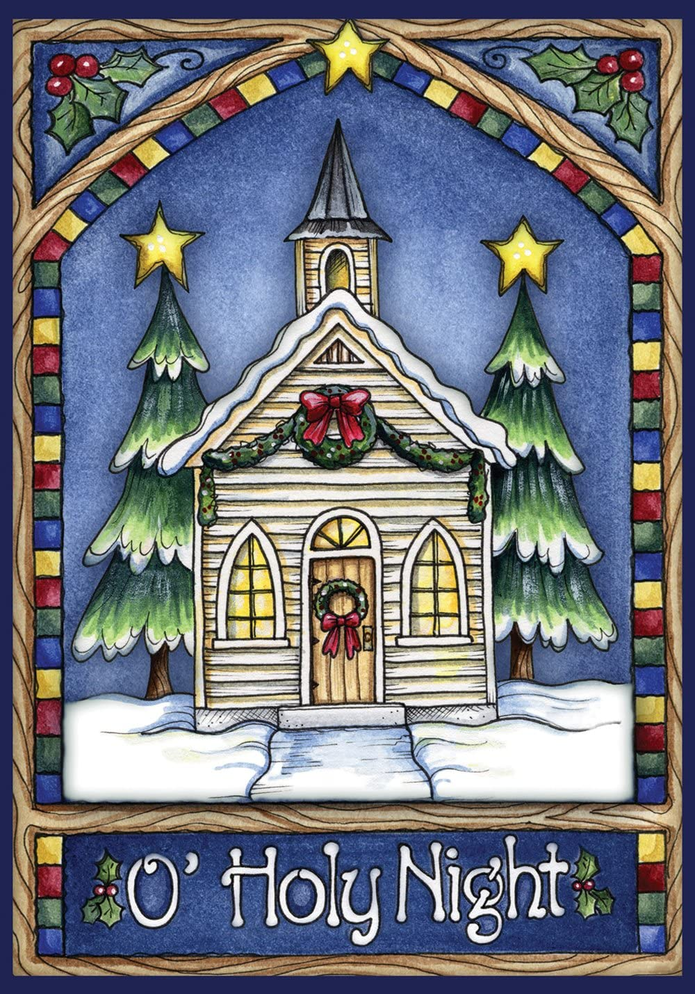 Toland Home Garden Christmas Church 28 x 40 Inch Decorative Stained Glass Holy Night Winter Snow House Flag - 101240