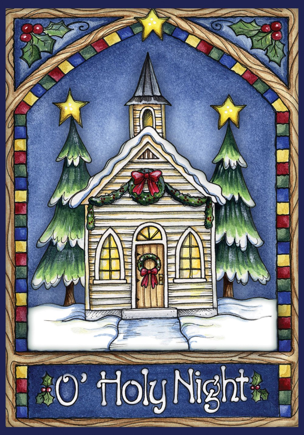 Toland Home Garden Christmas Church 12.5 x 18 Inch Decorative Stained Glass Holy Night Winter Snow Garden Flag - 111240