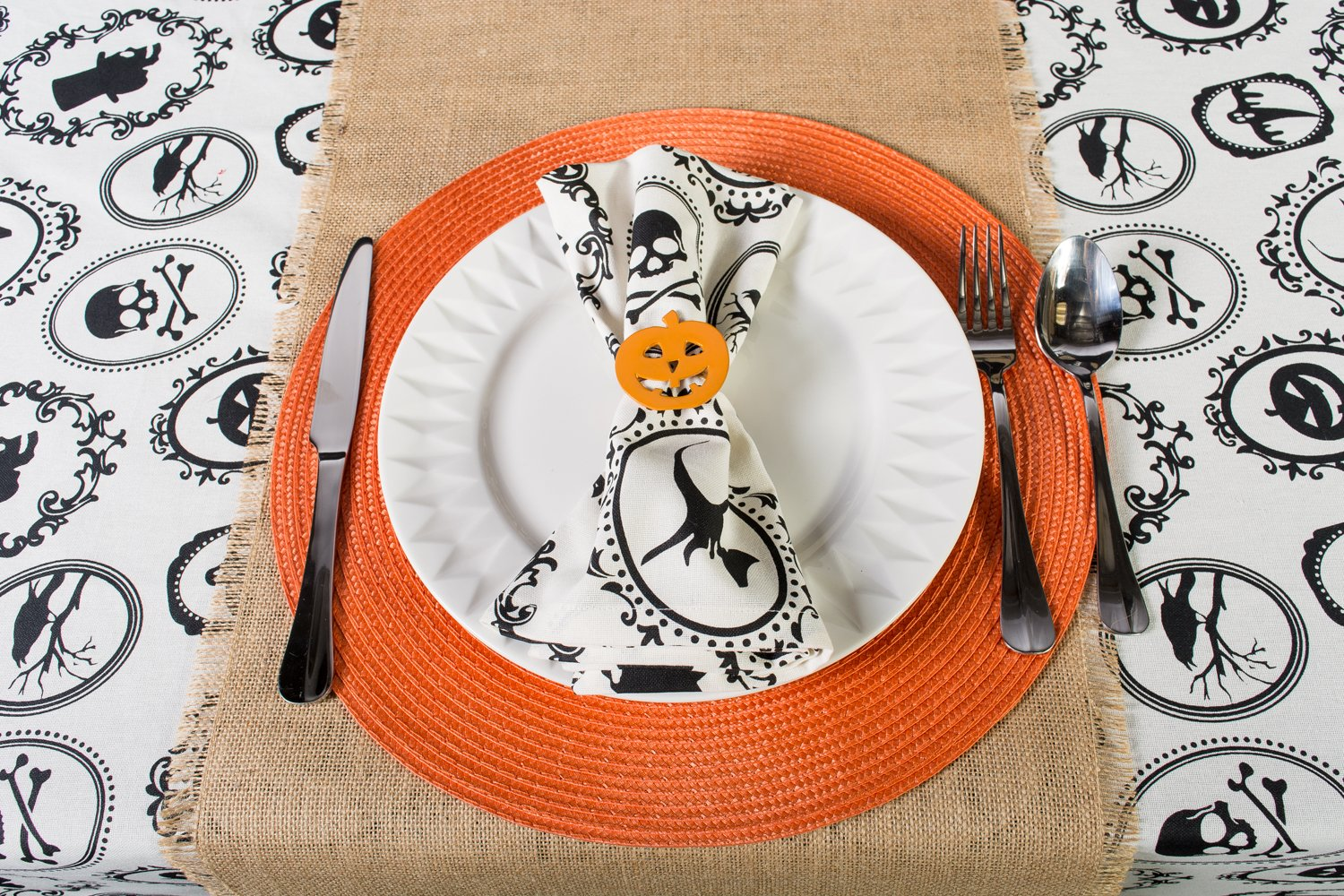 DII Oversized 20x20'' Cotton Napkin, Black & White Halloween Portrait - Perfect for Halloween, Dinner Parties and Scary Movie Nights by DII (Image #8)