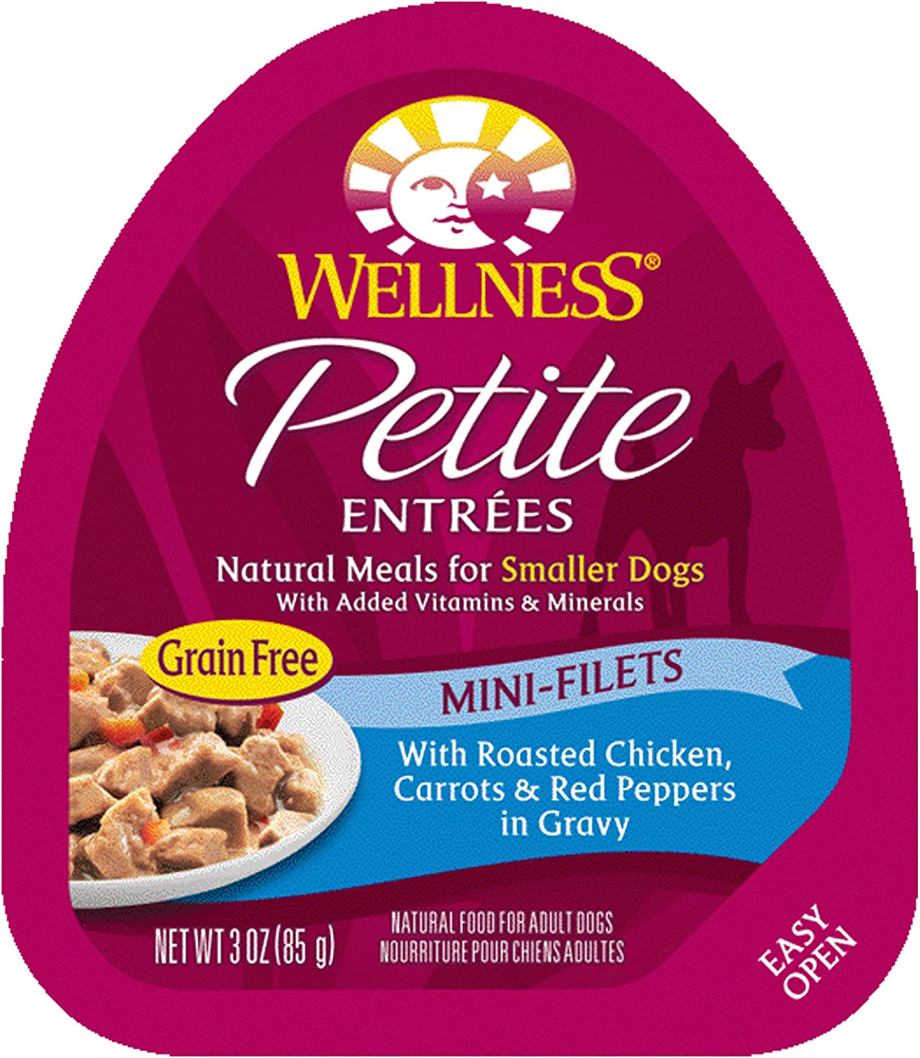 Wellness Petite Entrees Natural Grain Free Wet Small Breed Dog Food, 3-Ounce Cup Pack Of 24 Mini Filets Chicken