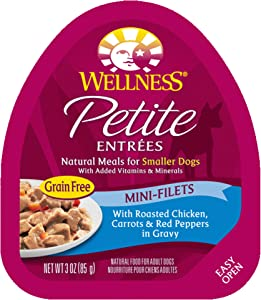 Wellness Petite Entrees Mini Fillets Small Breed Wet Dog Food, 3 Ounce Cup (Pack of 24)