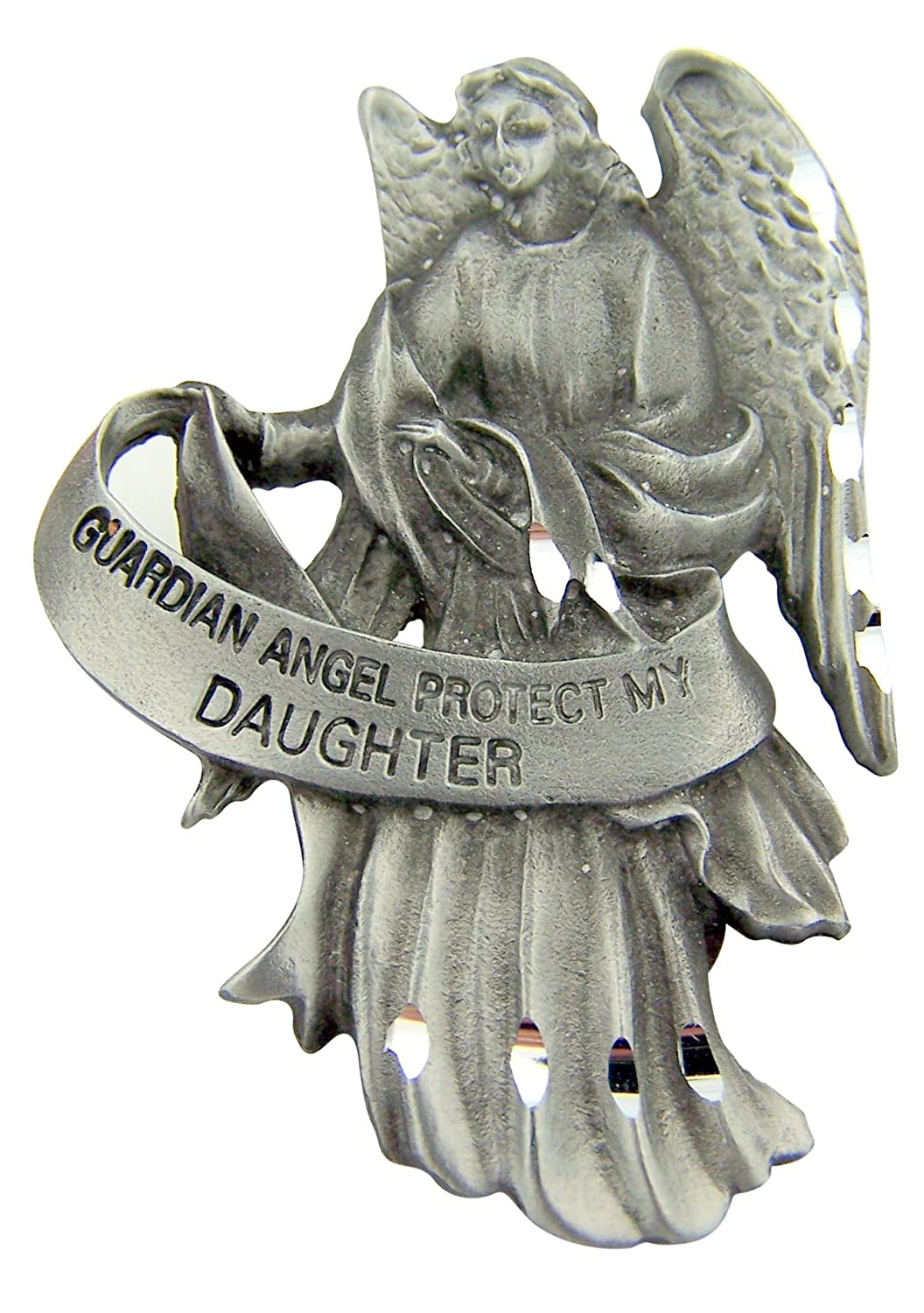 Religious Gift 2 1//2 Antique Finish Pewter Guardian Angel Protect My Grandson Auto Car Visor Clip Travel Protection