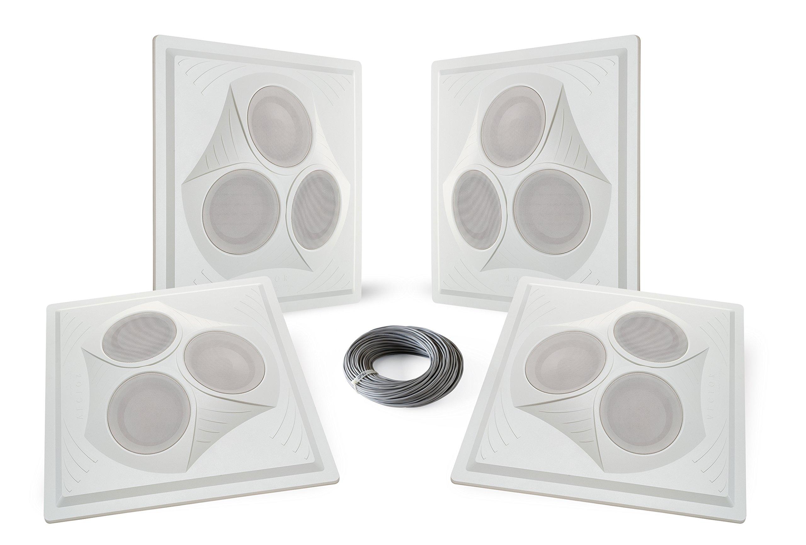 Pure Resonance Audio VCA8 - Vector Ceiling Speaker Array 120 Watts 8 Ohm (4 Speakers + Wire)