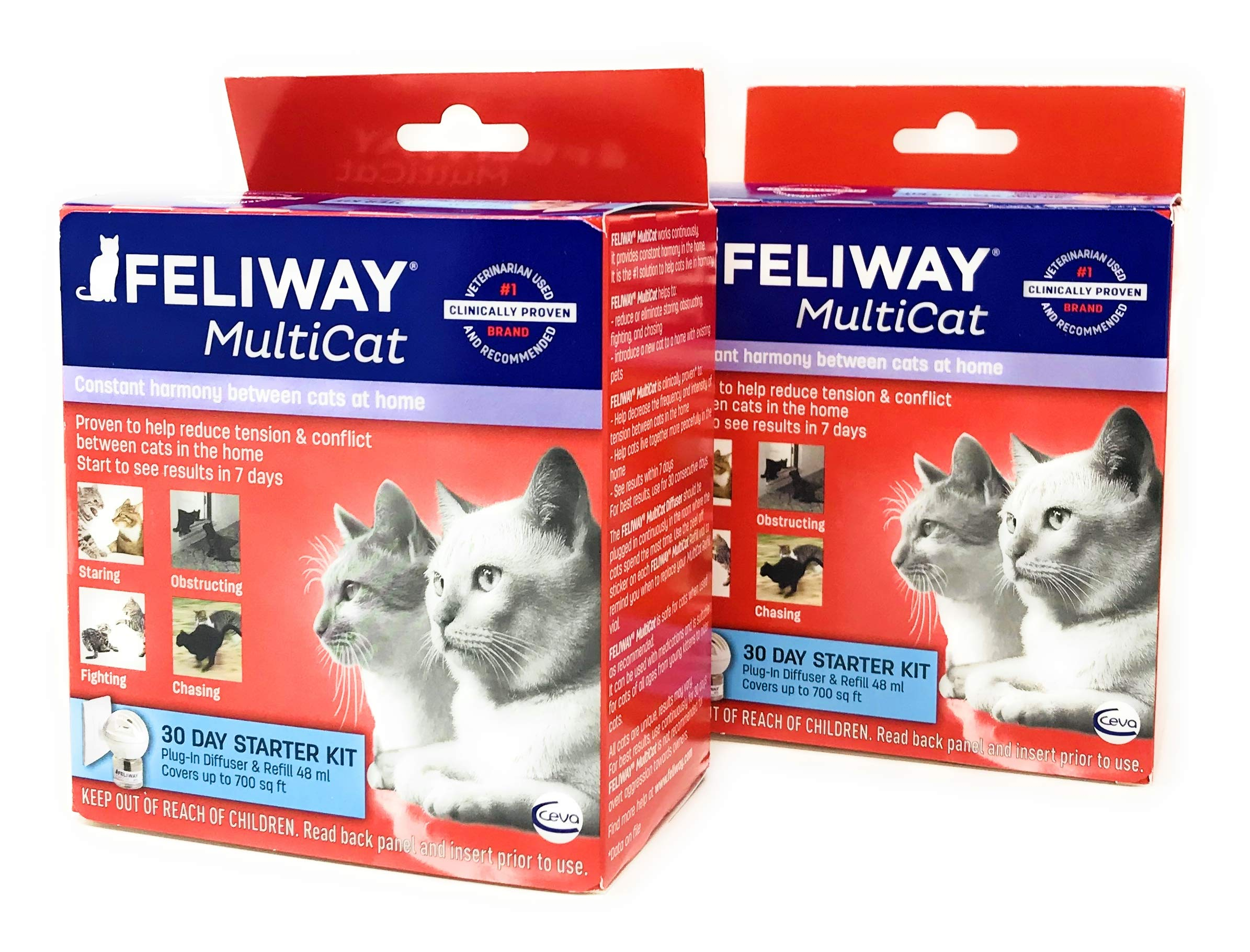 Feliway MultiCat Diffuser Starter Kit | Constant Harmony & Calming Between Cats at Home - 2-Pack (Diffuser + Refill [48mL] x 2)