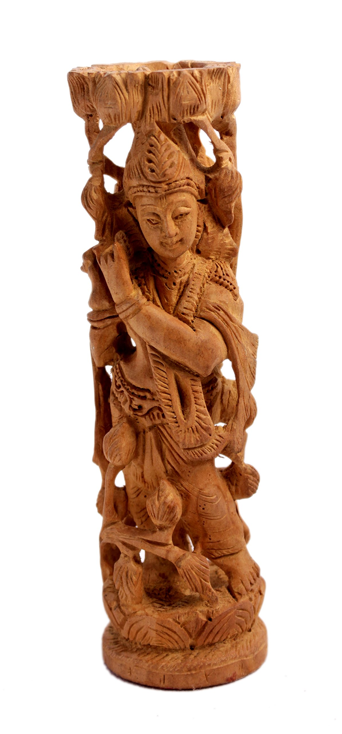 A Hand Carved Natural Wooden Lord Krishna Statue Idol 6.4 inches