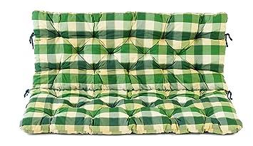 asiento y respaldo para banco plazas a cuadros verde