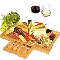 Unique Bamboo Cheese Board, Charcuterie Platter & Serving Tray Including 4 Stainless Steel Knife & Thick Wooden Server…
