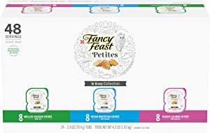 Purina Fancy Feast Gourmet Wet Cat Food Variety Pack, Petites Gravy Collection - (24) 2.8 oz. Trays