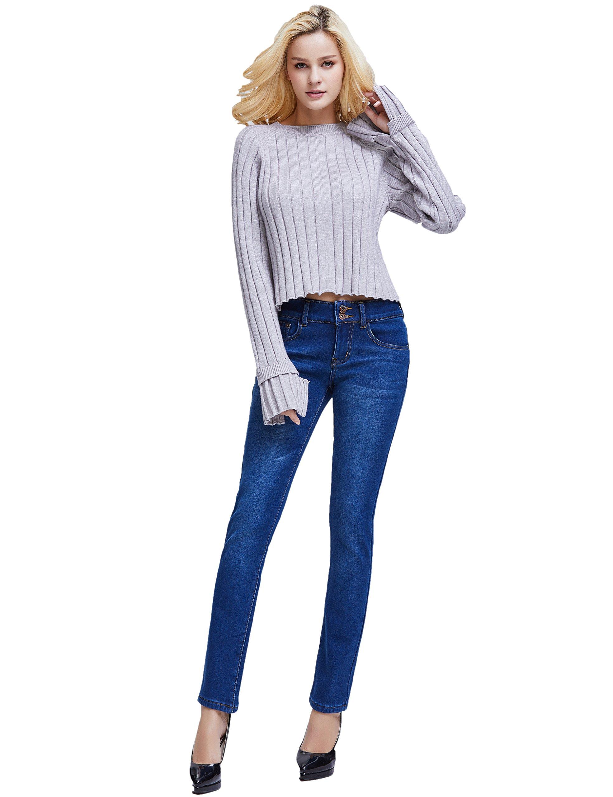 Camii Mia Women's Slim Fit Fleece Lined Jeans (W27 x L30, Blue (New Size)) by Camii Mia (Image #6)