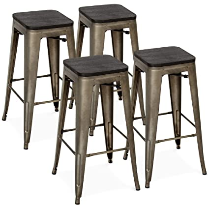 Wondrous Best Choice Products Set Of 4 30In Industrial Stackable Backless Steel Bar Stools W Wood Seats Bronze Gamerscity Chair Design For Home Gamerscityorg