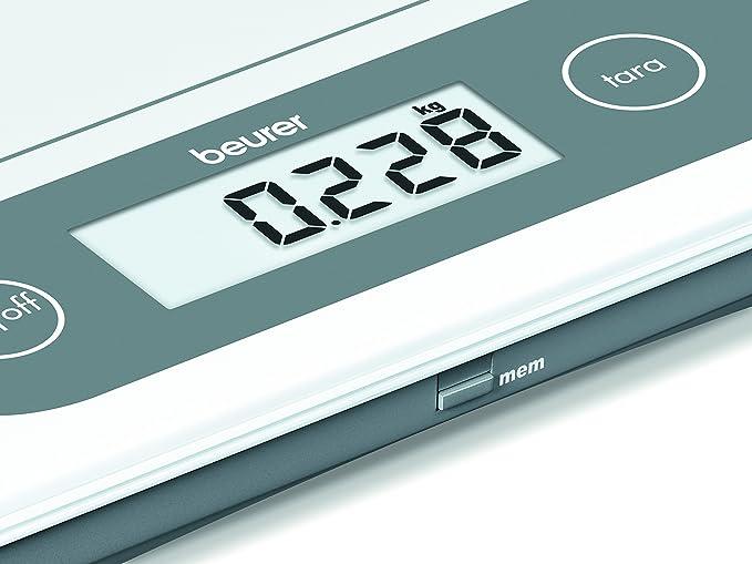 Beurer KS 59 - Balanza de cocina, 20 kg/1 gr, ideal para pesar paquetes, con función memoria: Amazon.es: Hogar