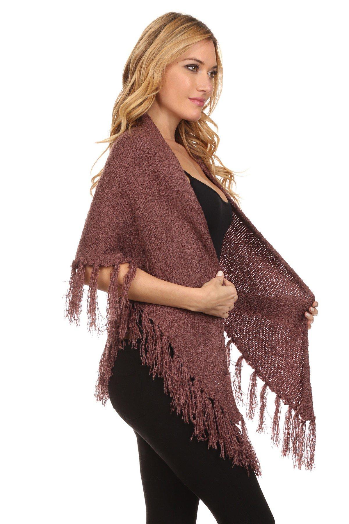 ICONOFLASH Women's Casual Sweater Knit Fringed Fashion Scarf Wrap, Mauve by ICONOFLASH (Image #3)