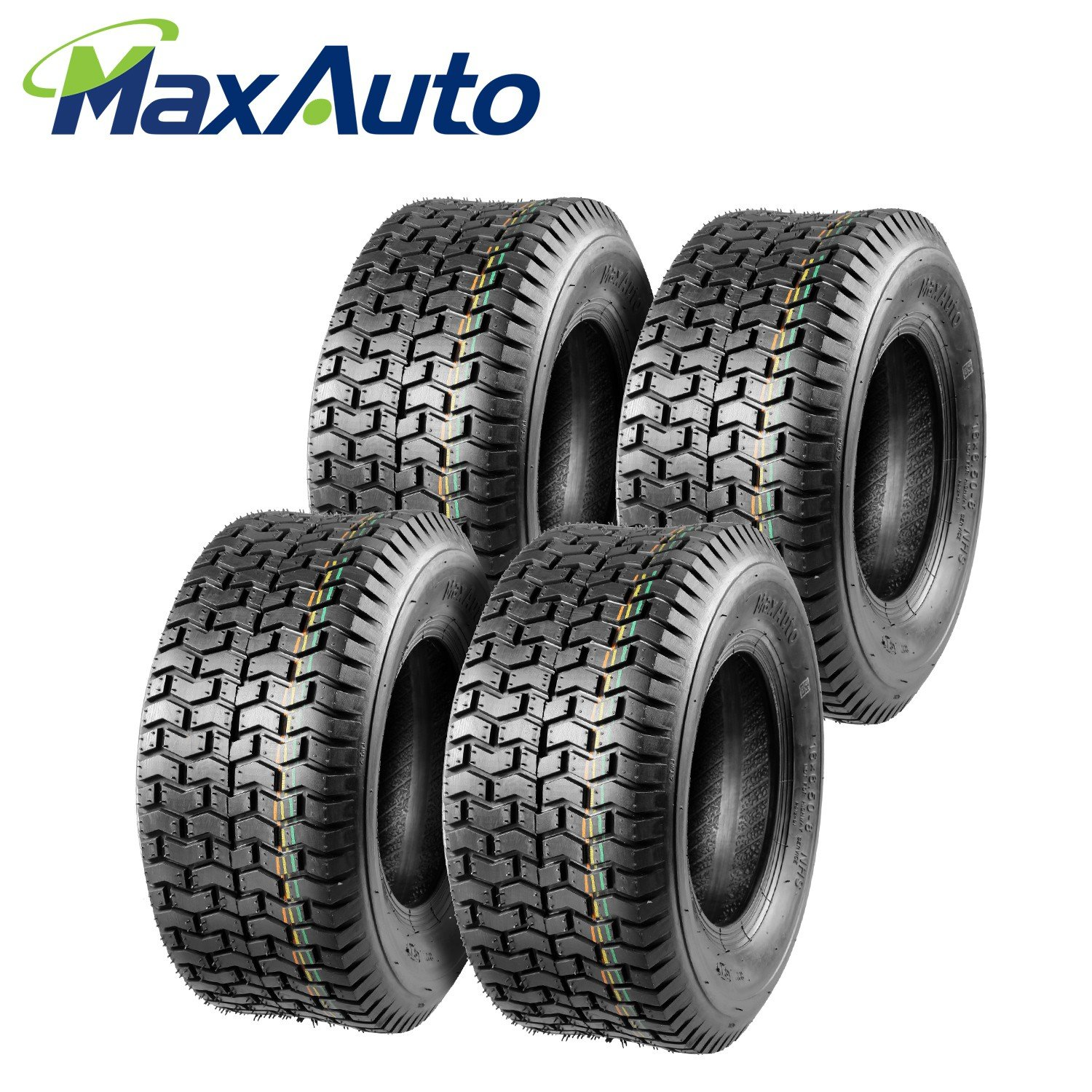 MaxAuto Turf Tires - 16x6.50-8 16/6.50-8 4Ply Tubeless for Garden Tractor Lawn mower(Set of 4)