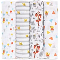 Aden By Aden And Anais Baby Muslin Swaddle with Disney Winnie Graphic, Multicolour, Pack of 4