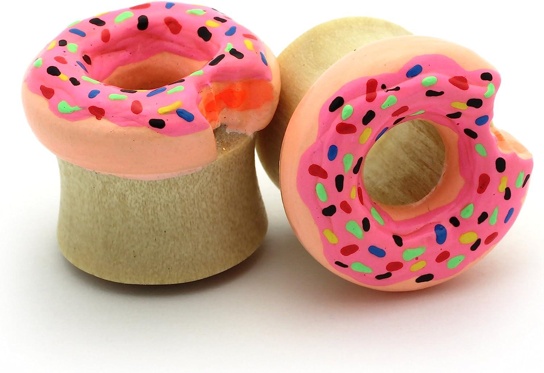 Cone Ice Cream Plugs Double Flare Tunnel Organic Wood Ear Plug Gauges Body Piercing Jewelry Pair