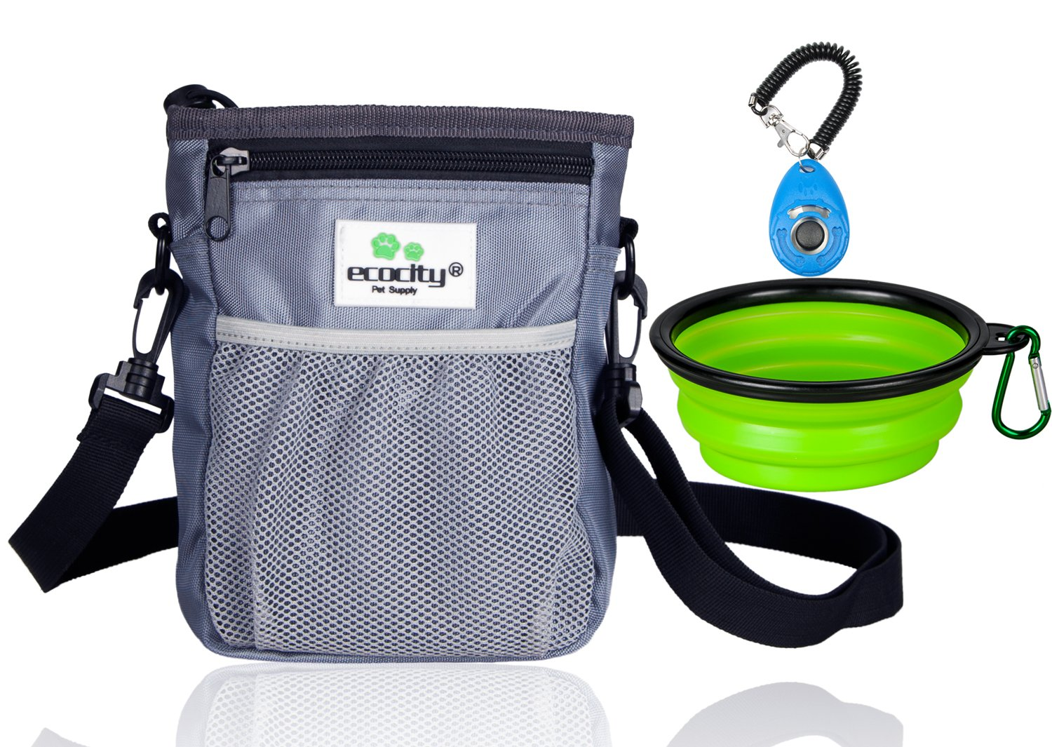 EcoCity 2018 NEW UPGRADE version Dog Treat Pouch Training - Built-in Poop Bag Dispenser, Perfect Carries Pet Toys, Treats - 3 Ways To Wear