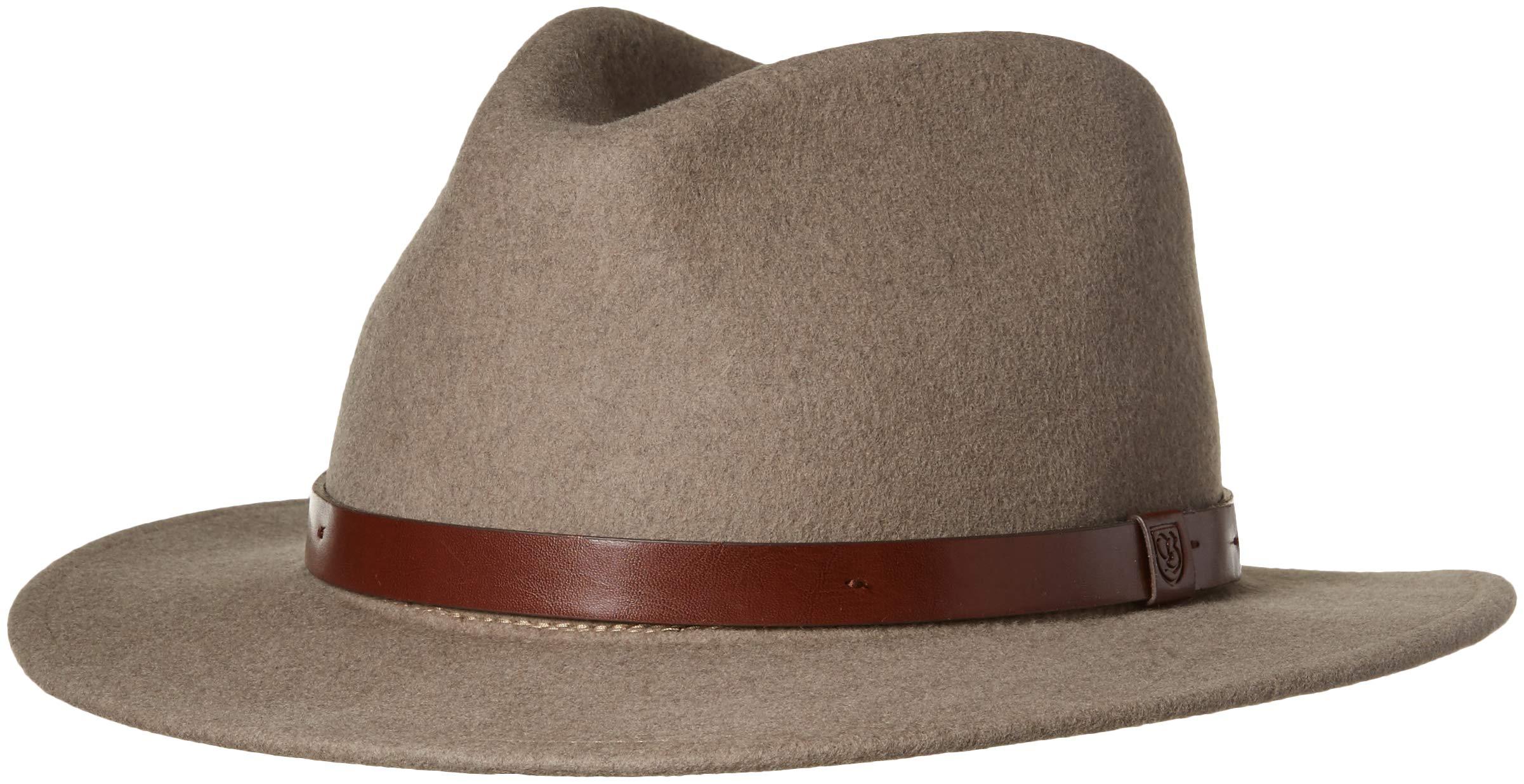 661fa135f2 Brixton Men's Messer Medium Brim Felt Fedora Hat, Heather Natural, XL