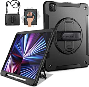 Miesherk iPad Pro 11 2021 3rd Generation/2020 2nd Gen Case, Military Grade Heavy Duty Shockproof Full-Body Protective Cover+Rotating Stand+Hand/Shoulder Strap for iPad Pro 11 Inch 2018, Black