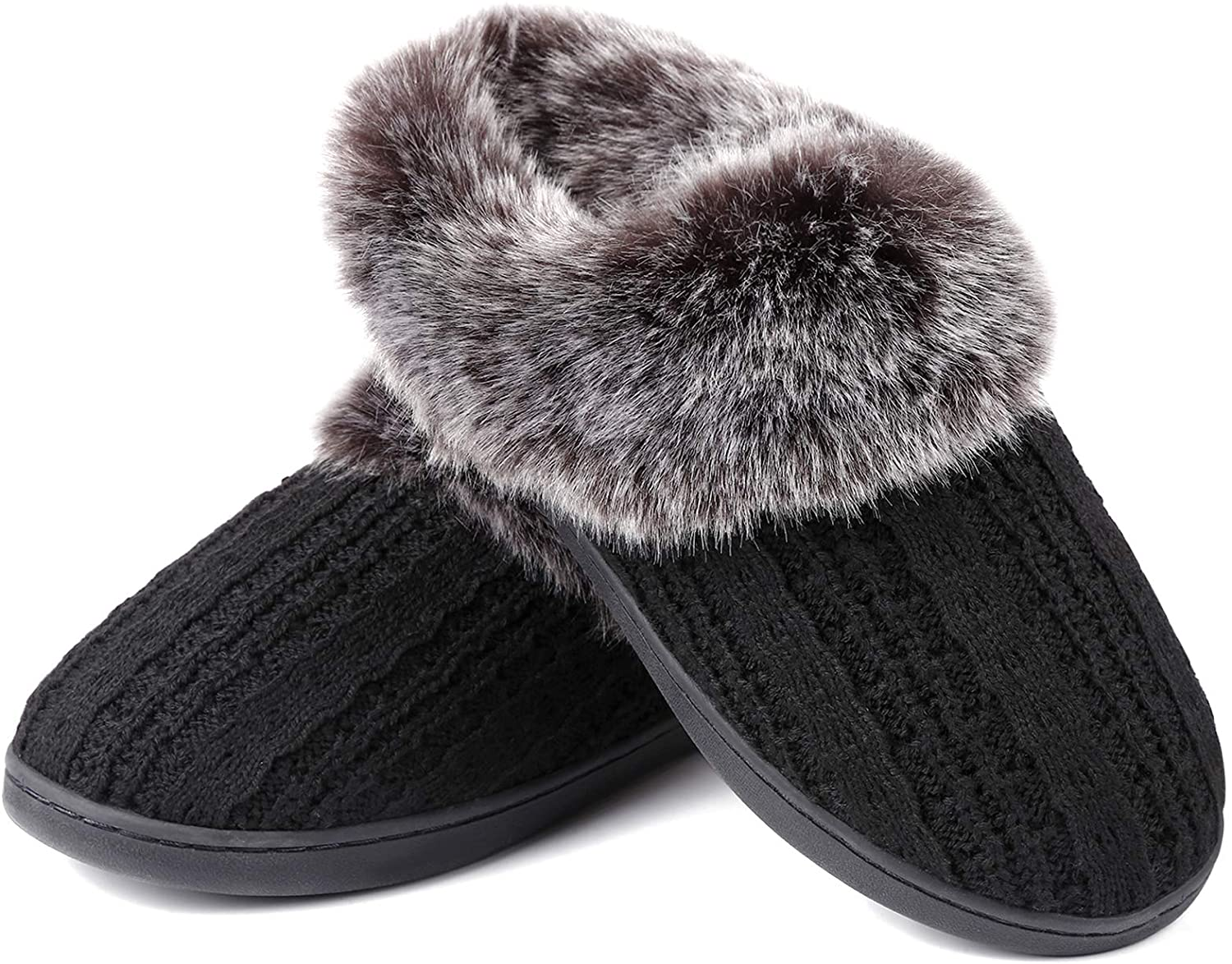 Soft Ladies Slippers Furry Memory Foam Slippers for Women House Shoes Bedroom Home Indoor Outdoor Slip on