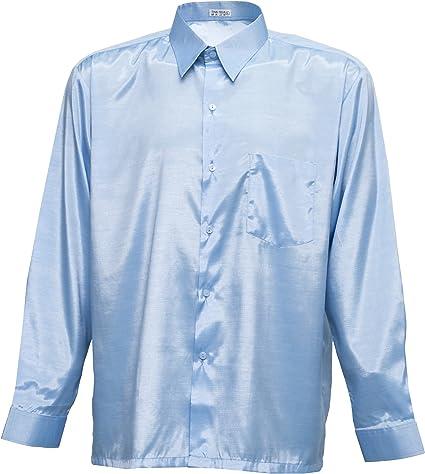 Tashisun Camiseta para Hombre de Manga Larga de Seda tailandesa Cielo Azul, Azul Celeste, X-Large