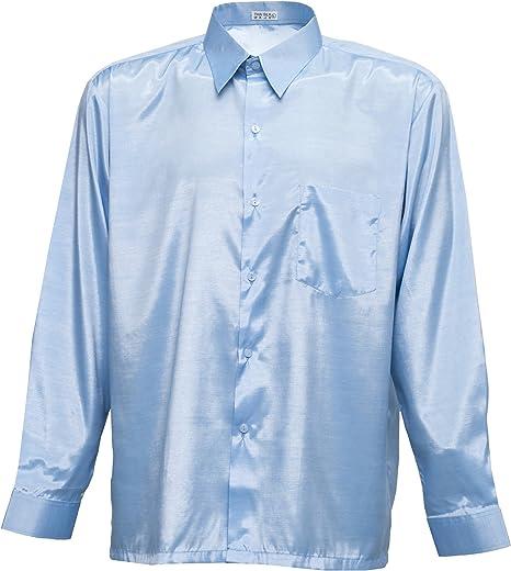 Tashisun Camiseta para Hombre de Manga Larga de Seda tailandesa Cielo Azul, Azul Celeste, X-Large: Amazon.es: Hogar