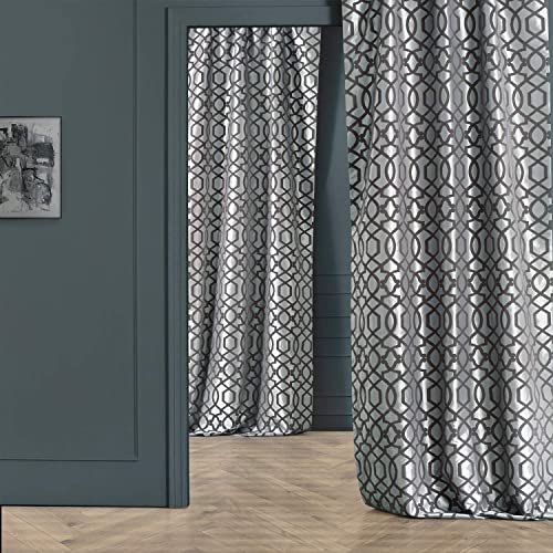 HPD Half Price Drapes PTFFLK-C23F-108 Designer Flocked Curtain 1 Panel