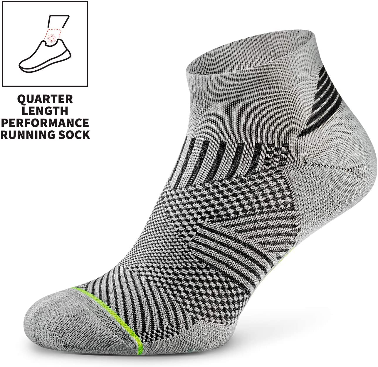 Rockay Flare Running Socks for Men and Women Anti-Odor Arch Support Cushion Quarter Cut 100/% Recycled 1 Pair