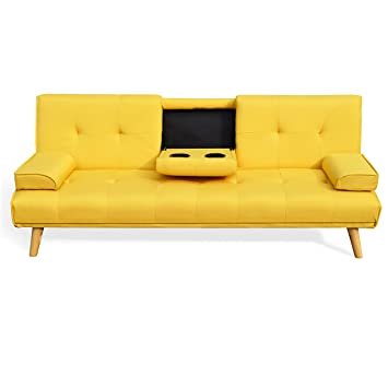 check out 74460 7647b Cherry Tree Furniture Acrux Yellow 3-Seater Sofa Bed Sleeper Sofa with Cup  Holders & Cushions