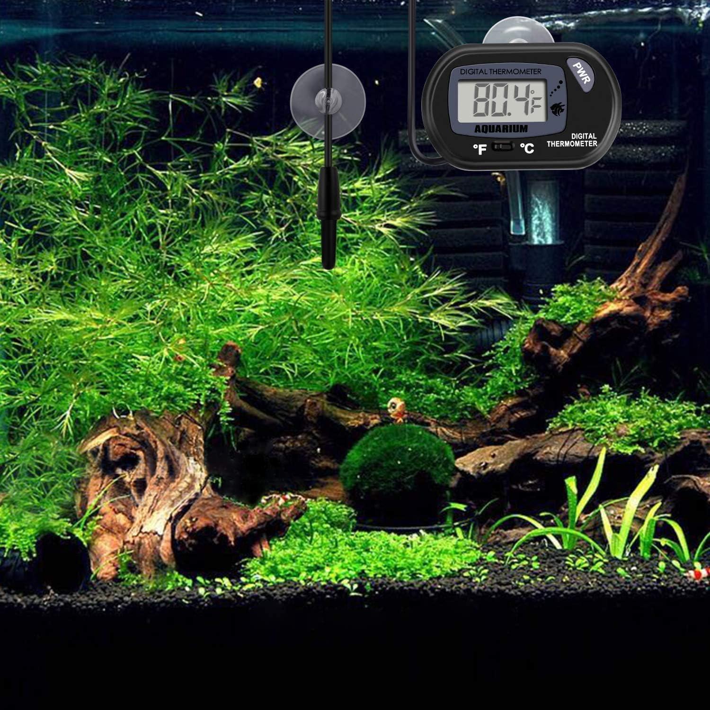 ZHITING LCD Term/ómetro digital para acuarios Pecera Temperatura del terrario de agua con ventosa para tortuga
