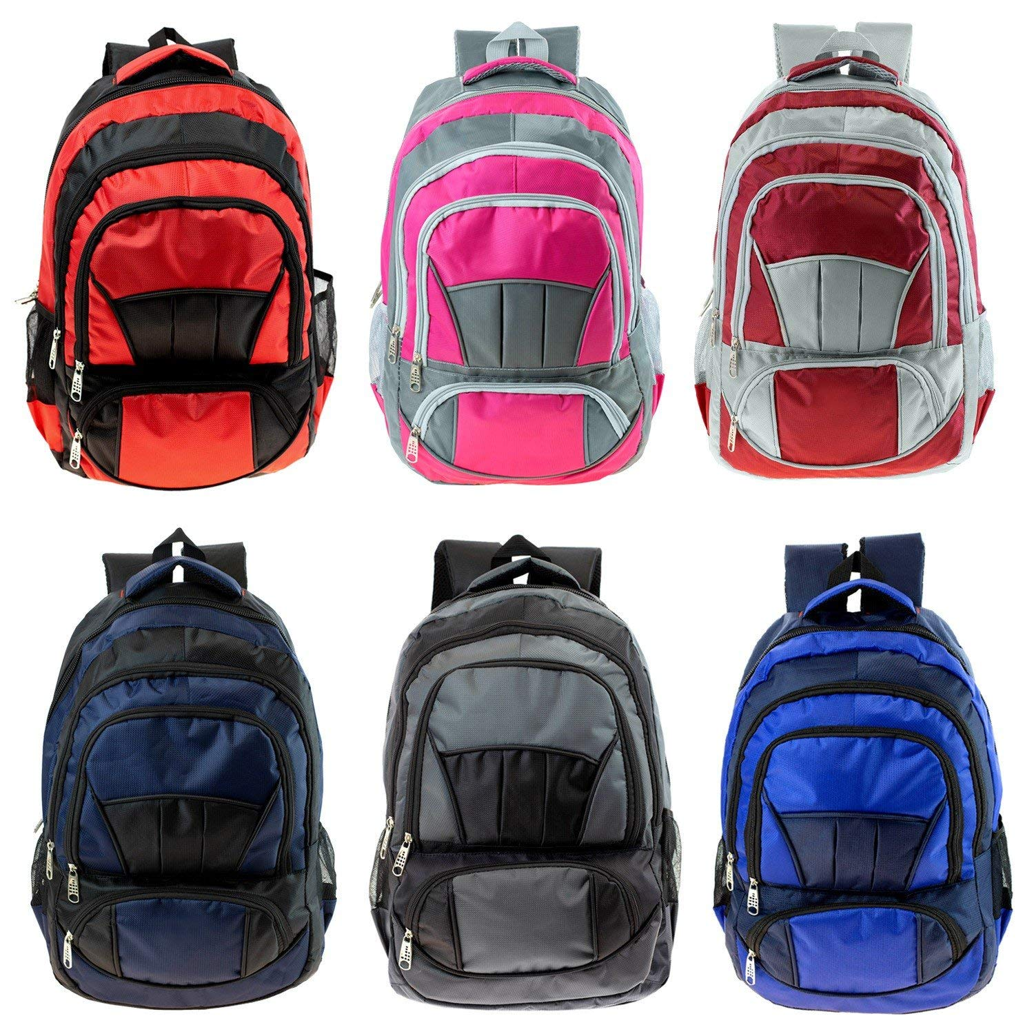 Wholesale 19'' Adult Large Premium Padded Backpack in 6 Assorted Colors - Bulk Case of 24 Bookbags