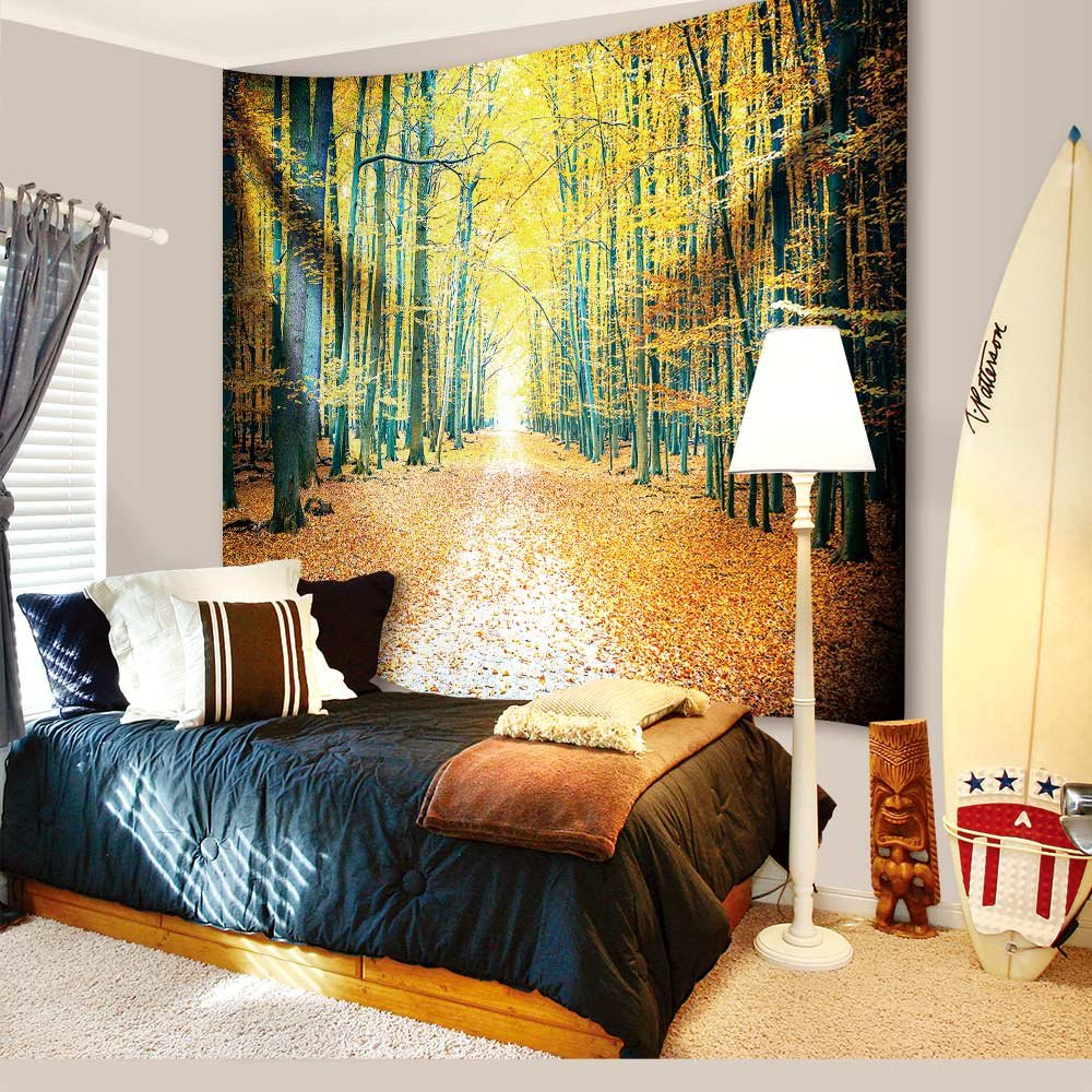 IMEI Golden Forest Tapestry Wall Hanging by, Nature Yellow Autumn Time Fabric Wall Decor Kids Girls Bed Throw Sofa Cover Living Room Dorm (Golden Woods with Leaves, 80 X 60 Inch) by IMEI (Image #1)