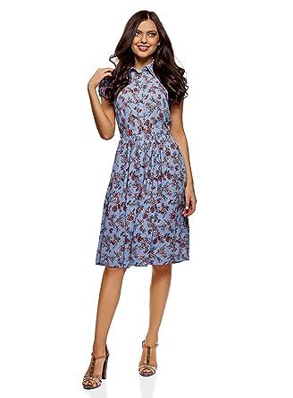58663a375a oodji Ultra Women's Midi Dress with Flared Skirt at Amazon Women's ...