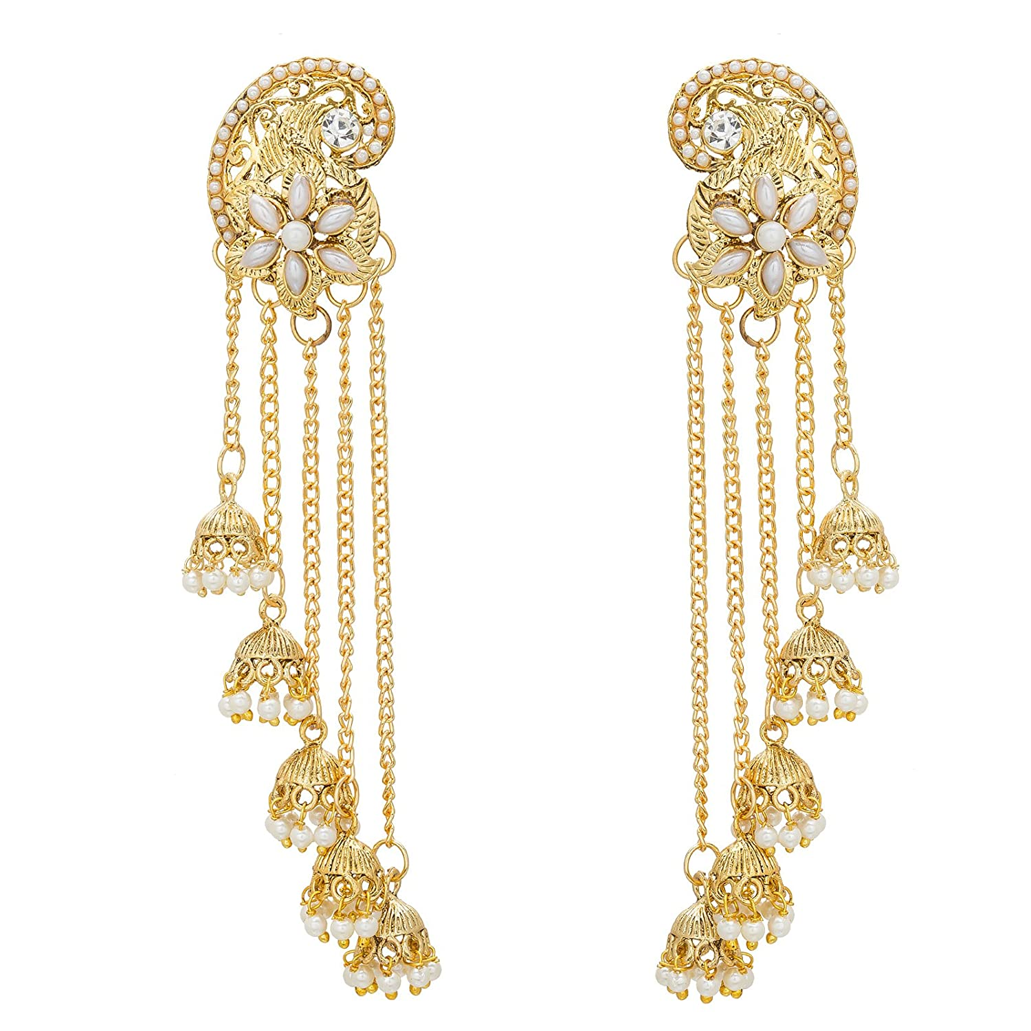 Buy The Luxor Gold Pearl Jhumki earrings for Women Online at Low ...